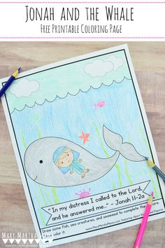 Jonah and the Whale Coloring Page (Free Printable) – Mary Martha Mama Bible Story Crafts, Bible Crafts For Kids, Preschool Bible, Bible Activities, Preschool Crafts, Bible Stories, Crafts Toddlers, Vbs Crafts, Church Activities