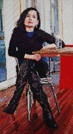 Artist Maria E. Piñeres uses traditional #needlepoint to create intricate portraits of people. #craft