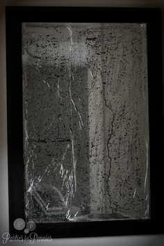 "Halloween Mirror  --mirror covered with saran wrap and then ""painted"" with black and red paint.  A way to make your everyday mirrors spooky without permanent change. Alter, Look Older"