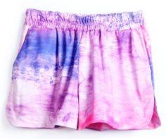 Pink Purple Elastic Waist Straight Shorts EUR€16.15
