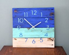 Hip, Modern, Ocean Blue BEACH HOUSE Clock. Recycled, Reclaimed, Repurposed Pallet Wood Wall Clock. Great gift idea.