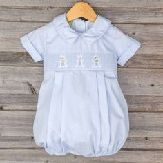 Easter Bunny Smocked Boy Bubble Light Blue Check Brand: Classic Whimsy.