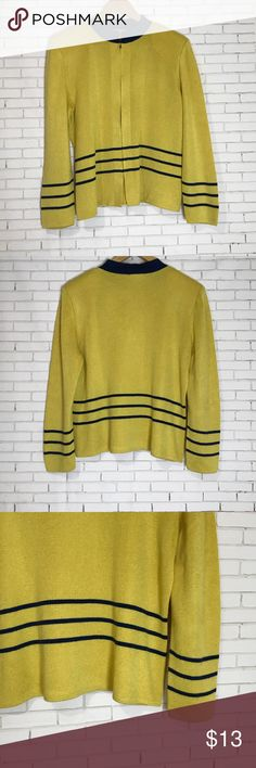 Patchington Yellow Long Sleeve Cardigan Size Large Patchington yellow & blue long sleeve cardigan with stripes, shoulder pads and zipper. Size large. Patchington Sweaters Cardigans