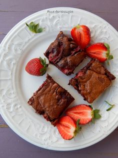 Food for thought: Σοκολάτα Strawberry Brownies, Fashion Cakes, Food For Thought, French Toast, Sweets, Beef, Chocolate, Breakfast, Desserts