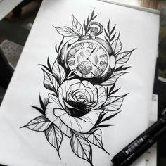Rose Drawing Tattoo, 4 Tattoo, Cover Tattoo, Rose Tattoos For Women, Tattoos For Guys, Cool Tattoos, Tatoos, Flash Art Tattoos, Clock And Rose Tattoo