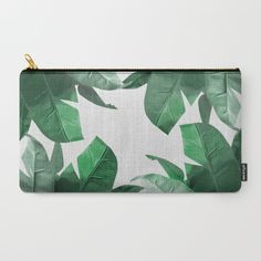 Banana leaf makeup bag. Tropical Palm Print Carry-All Pouch by Tamsin Lucie. Botanical, Bahama, Palm, leaves.