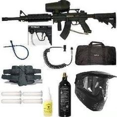 "Tippmann A5 Paintball Marker Gun T4 4+1 RIS Sniper Set - 5 by Tippmann. $379.95. Tippmann A5 Marker, A5 Cyclone Ammo Hopper, 16"" M4 Ported Sniper Paintball Barrel, Tippmann A5 Tactical Stock 6 position Adjustable, Fixed Sight Rail/Carry Handle, Tippmann Tactical M4 Mag Expansion Chamber, GXG XVSN Mask with Visor & Anti Fog Lens or PMI Xrauk with visor and anti fog lens, 20oz CO2 Tank with Pin Valve, UFD Heavy Duty Coiled Remote with Quick Disconnect On/Off, 21"" GXG padded g..."