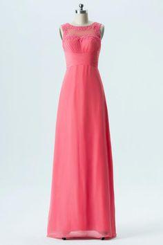 3db1599f20eb Spiced Coral A Line Floor Length Sheer Neck Sleeveless Appliques Cheap  Bridesmaid Dresses OB132
