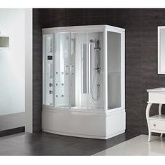 Aston White 86-inch 9-jet Steam Shower with Whirlpool Bath - Free Shipping Today - Overstock.com - 13763770 - Mobile