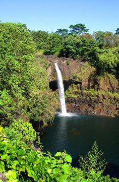 Tropical Waterfall: Rainbow Falls, The Big Island, Hawaii