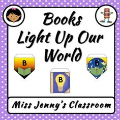 """Brighten up your library or classroom with this set of bunting. This is based on the theme """"Books Light Up Our World"""". Bright and colourful with 3 different designs. A bonus is that they are in both A4 and Letter page format."""