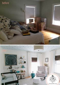 Reed's Nursery.  Before and After! Notice the ceiling. The stars and color really set the tone for this room.  Very calming.