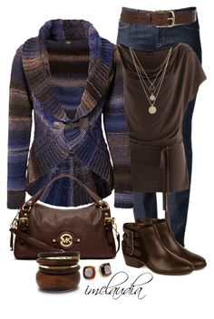 """""""Striped Cardigan"""" by imclaudia-1 ❤ liked on Polyvore featuring Hudson Jeans, MICHAEL Michael Kors, Arturo Chiang, Kate Spade, LowLuv and Isabel Marant"""