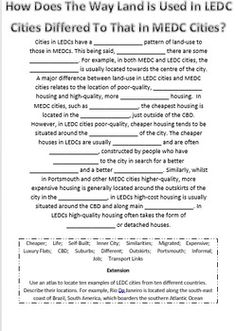 This worksheet allows students to look into the different land uses within cities in MEDCs and LEDCs. Including cost, location, quality and facilities Land Use, Landing, Worksheets, Cities, Students, Urban, Legs, Literacy Centers, City
