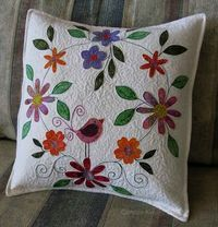 Freemotion by the River: Bird on a flower pillow