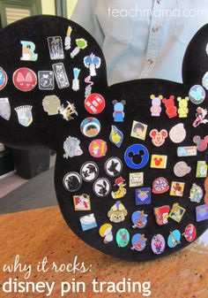 Why Disney pin trading rocks for families  ~~ teachmama.com.  (And I love the idea of displaying the pins on a Mickey shape)!