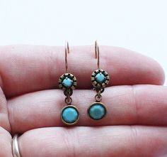 Vintage Liz Palacios Signed Designer Dangle or Drop Turquoise Earrings by paststore on Etsy