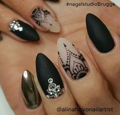 black lace and chrome nails