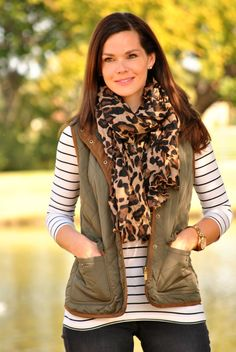 Olive Vest, Striped Shirt, Black Jeans and Leopard Scarf Outfit
