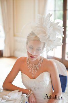 Bridal Hat, Fascinator, Feather Fascinator, Head Piece,  Ivory Feather  - TORI. $169.00, via Etsy.