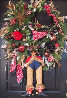"Christmas Wreath-COWBOY Santa Claus - ""Christmas Hat n' Boots Collection©"""