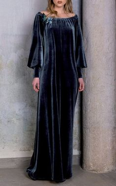 Off The Shoulder Velvet Gown by LUISA BECCARIA for Preorder on Moda Operandi