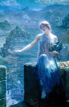 Edward Robert Hughes - The Valkyrie's Vigil. (5 November 1849 – 23 April 1914) was an English painter who worked in a style influenced by Pre-Raphaelitism and Aestheticism. Some of his best known works are Midsummer Eve and Night With Her Train of Stars. Hughes was the nephew of Arthur Hughes and studio assistant to William Holman Hunt.