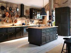 Dark kitchens with lots of light.