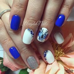 Blue nail art, Blue nails ideas, Blue nails with butterflies, Bright blue gel polish, Bright blue nails ideas, Bright- blue nails, Butterflies on short nails, Butterfly nails