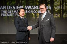 Andrej Kupetz General Manager German Design Council with Jean Nguyen CEO and Founder of Koove, a French Brand. Ceremony of German Design Award 2014, February 7.(Messe Frankfurt Exhibition GmbH) | Nicolas Det, Official Photographer for Koove.