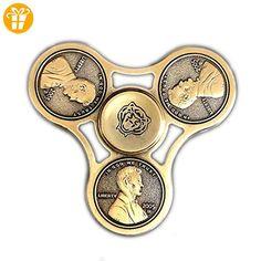 Fidget Spinner Handspinner PA-SM Metal Bearing Münzen Körper Tri-Spinner Fidget Toy Gold Bronze - Fidget spinner (*Partner-Link)