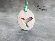 Colorful Hummingbird Aromatherapy Clay Scent Diffuser Yoga Pendant NECKLACE for…