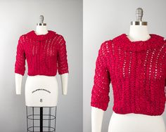 Vintage 1950s Cardigan   50s Ribbon Knit Berry Red Rayon Cropped Sweater (small/medium)   Birthday Life Vintage on Etsy