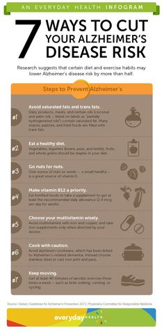 ALZHEIMER'S: Reducing your Alzheimer's disease risk doesn't have to be difficult. Check out this infographic for 7 easy steps you can take today!
