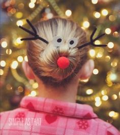 Rudolph the Red Nosed Reindeer Christmas Hairdo...cause everyone wants a reindeer in their hair. Hehe
