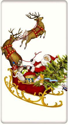 Santa and His Sleigh Christmas 100% Cotton Flour Sack Dish Towel Tea Towel