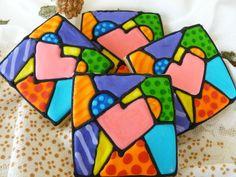 Pop Art Heart Cookies - 1 Dozen. $30.00, via Etsy.