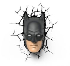 Break through the dark with this amazing DC Comics Batman Mask Wall Light! The cracked sticker creates the illusion that Batman is breaking through your wall. This Batman Mask Wall Light is the perfect addition to any Batman fan's home decor! 3d Deco Light, 3d Light, Light Wall Art, Wall Lights, Batman Maske, Kids Bedroom Lights, Bedroom Lighting, Batman Collectibles, Hero Poster
