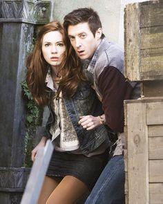 Karen Gillan as Amy Pond and Arthur Darvill as Rory Williams