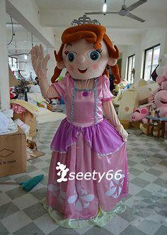 Disney Sofia the first Princess Costume Mascot Cartoon Suit Customize Women Adul