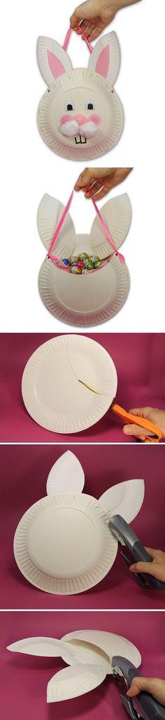 lapin avec assiettes en carton