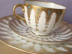 Antique 1940's Royal Chelsea gothic tea set, gold tea cup and saucer plate set, English tea cup trio, gold and white bone china tea cup set