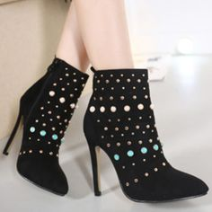 Black Bead & Rivets Appliqued Ankle Boots