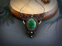 Chrysocolla macrame necklace. Bohemian by EarthBoundMacrame