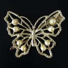 """Vintage Butterfly Hair Clip Beautiful gold tone butterfly with lots of detail and faux pearls.  Measures about 2.25"""" across by 1.75"""" tall. Vintage Accessories Hair Accessories"""