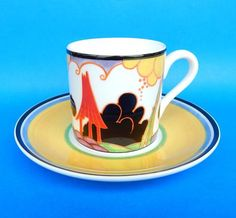 "English Porcelain - Wedgwood Clarice Cliff Limited Edition Cafe Chic Demitasse Duo - "" Summerhouse "" for sale in Durban (ID:225857647)"