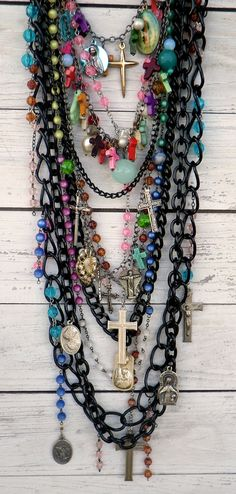 black statement necklace, long layered, religious rosary, cross, assemblage necklace, found objects    $185