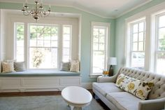 Benjamin Moore Palladian Blue/ Living room by Caitlin Creer Interiors via DecorPad Color Confidence: 10 Easy-to-Live-With Living Room Paint Colors Blue Green Paints, Green Paint Colors, Room Paint Colors, Paint Colors For Living Room, My Living Room, Wall Colors, House Of Turquoise, Palladian Blue Benjamin Moore, Benjamin Moore Beach Glass