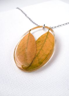 Real Autumn Leaves Pendant  Autumn Necklace  Fall by MetanoiaCharm