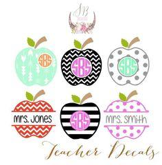 Teacher Apple Custom Monogram Decal. Shop Sophie Breanna Designs on Etsy. Etsy…